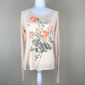 WILDFOX   Soft Pink Scoop Neck Sweater Raw Edge S